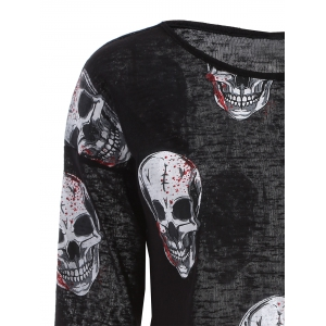 Skull Print Hollow Out Knitwear -
