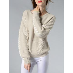 Dropped Shoulder Sweater - OFF WHITE ONE SIZE