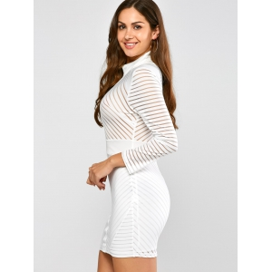 High Neck Mini Bodycon Fitted Bandage Dress -