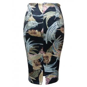 Feather Painting Tube Skirt - BLACK L