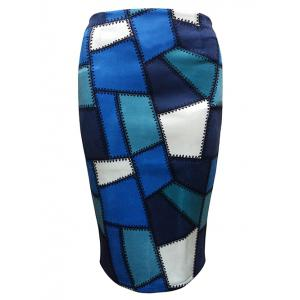 Geometric Patched  Pencil Skirt - Blue - S