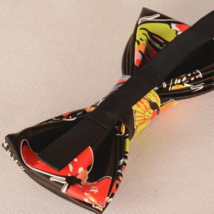 PU Butterfly Print Bow Tie - BLACK