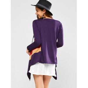 Color Block Waterfall Cardigan - PURPLE XL