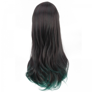 Long Side Bang Tail Adduction Mixed Color Synthetic Cosplay Wig -