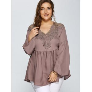 Lace Spliced Crochet Plus Size Blouse -