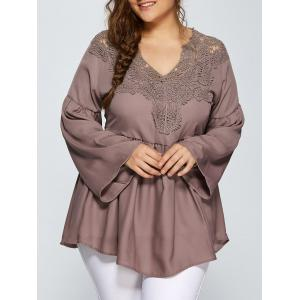 Lace Spliced Crochet Plus Size Blouse - Light Coffee - Xl