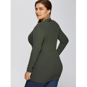 Plus Size V Neck Pullover Sweater - ARMY GREEN 5XL