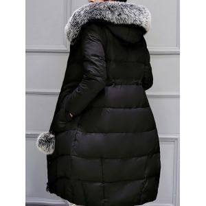 Hooded Long Quilted Coat - BLACK 3XL