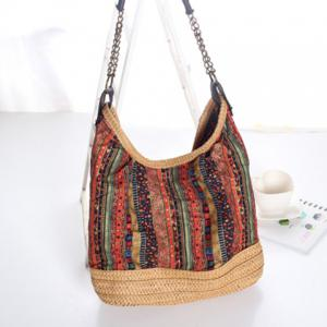Bohemian Straw Chains Printed Shoudler Bag - RED