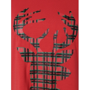 Reindeer Striped Raglan Sleeve Christmas T-Shirt -