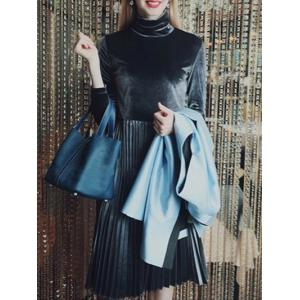 Long Sleeve Turtleneck Pleated Velvet Dress -