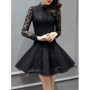 Long Sleeve Openwork Lace Flare Dress -
