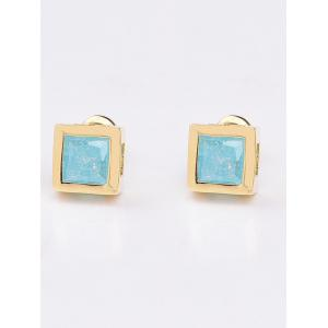 Square Shape Rhinestone Stud Earrings - Lake Blue