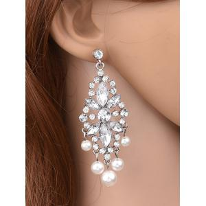 Hollow Rhinestone Faux Pearl Beaded Earrings