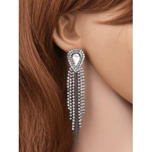 Teardrop Rhinestone Bead Tassel Earrings - Silver White - One-size