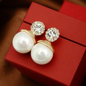 Faux Pearl Ball Rhinestone Earrings -
