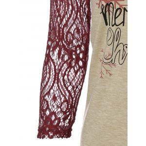 Christmas Elk Print Lace Panel T-Shirt - WINE RED XL