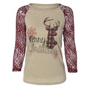 Christmas Elk Print Lace Paneled T-Shirt