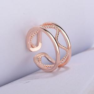 Hollow Twist Alloy Cuff Ring - ROSE GOLD