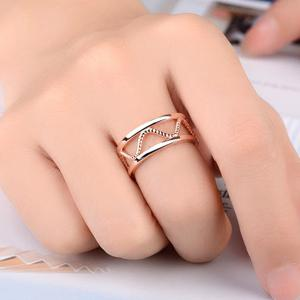 Hollow Twist Alloy Cuff Ring