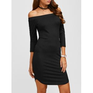 Off The Shoulder Ribbed Bodycon Dress - Black - S
