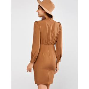 Choker Neck Long Sleeve Sheath Dress - LIGHT BROWN L
