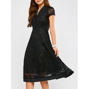 Swing Lace A Line V Neck Midi Dress