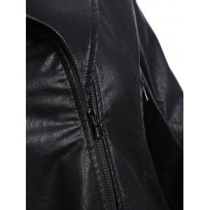 Plus Size Panel Hooded Faux Leather Jacket - BLACK 5XL