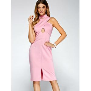 Keyhole Cross Front Bandage Cut Out Dress - PINK XL