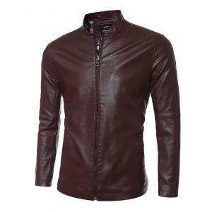 Simple Stand Collar PU Leather Jacket
