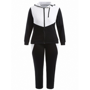 Plus Size Hooded Jacket and Contrast Pants Twinset - Black - Xl