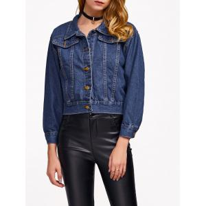 Drop Shoulder Cropped Denim Jacket