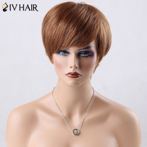 Short Boy Cut Side Bang Straight Siv Human Hair Wig - AUBURN BROWN