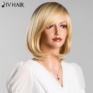 Short Side Bang Straight Mixed Color Siv Human Hair Wig -