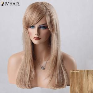 Long Oblique Bang Straight Siv Human Hair Wig