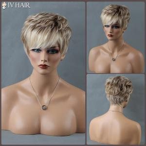 Short Mixed Color Shaggy Side Bang Curly Siv Human Hair Wig