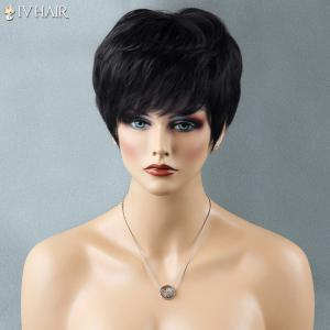 Short Shaggy Full Bang Straight Siv Human Hair Wig -