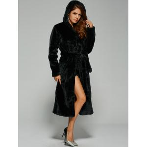 Warm Faux Fur Hooded Wrap Coat -