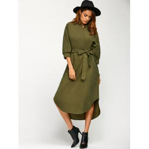 Asymmetric Casual Wrap Midi Dress with Belt - ARMY GREEN L