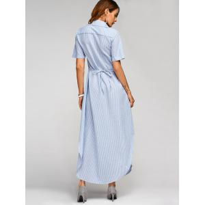 Summer Vertical Striped Maxi Shirt Dress -