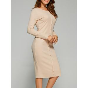 Long Sleeve Button Up Knit Sheath Dress - Light Beige - S