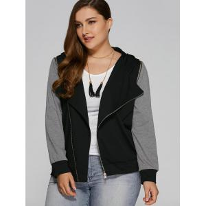 Plus Size Zip Pocket Hooded Jacket