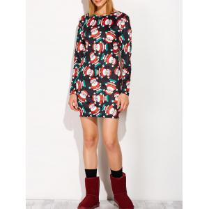 Festival Christmas Santa Claus Print Tunic Dress