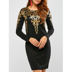 Mini Long Sleeve Arab Gilding Modest Sheath Dress - Black - M