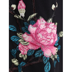 Flower Embroidery Long Sleeve Dress - BLACK 2XL