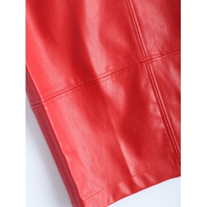 Faux Leather Pencil Skirt - BRIGHT RED M