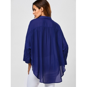 Dolman Sleeve High Low Blouse -