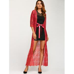 Ribbon Maxi Lace Long Cardigan -