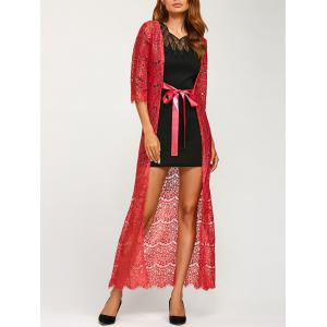 Ribbon Maxi Lace Long Cardigan - Red - One Size