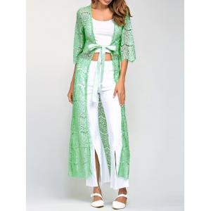 Ribbon Maxi Lace Long Cardigan - Light Green - One Size